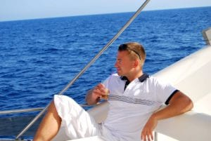 Sailor drinking cold coffee boat x