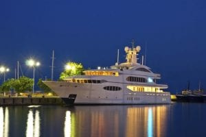 Luxury yacht in the port at night x