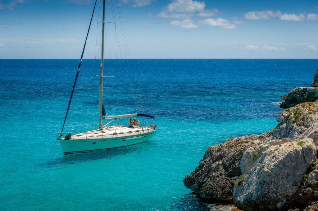 sail boat in mediterranean sea coast